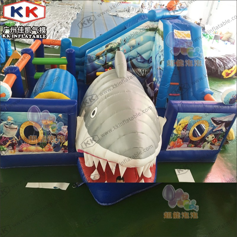 Party Or Event Entertainment Park Shark Inflatable Combo Bouncer With Slide For Sale