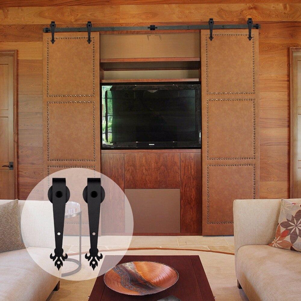 LWZH Sliding Wood Barn Door Hardware Kit Black Steel Three Leaves Shaped Track Roller Closet Door Hardware Kit For Double Door