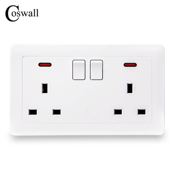 Coswall pared Socket 2 13A Reino Unido estándar cambió salida con indicador de neón, 146*86mm
