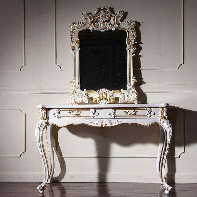 European Style Childs Dresser, Antique Vanity Dresser With Mirror Gold  Wooden Dressing Table