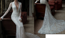 2015 Mermaid Wedding Dress with Long Sleeves V Neck Sheer Back Lace in Bodice Court Train Elegant Bridal Gown
