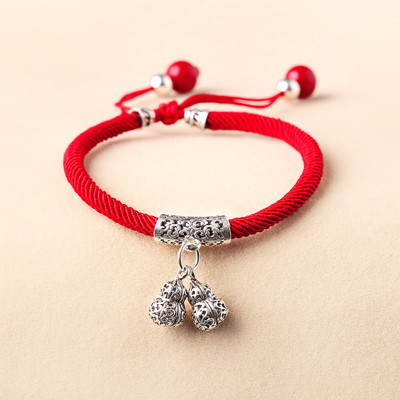 Original ethnic style red rope bracelet 925 silver hand woven student gift Bennian jewelry women