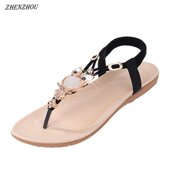 93ee10974 Free shipping summer 2018 Flip Flops Women s shoes Bohemian girl sandal  thong beaded metal buckles flip-flops beach shoes