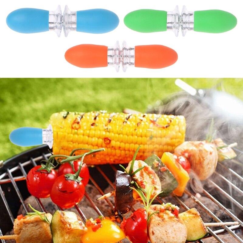 OOTDTY, 2 шт., безопасный держатель для Кукуруза в початках, шпажки, иглы, вилки, палочки, барбекю, вечерние, ручные инструменты