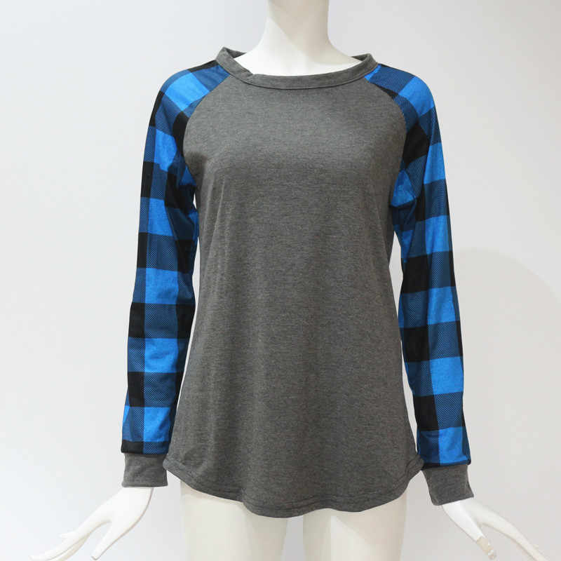 Blusas Femininas 2019 ファッション女性ブラウスチェック柄プリント長袖ブラウスシャツカジュアル O ネック Tシャツトップスプラスサイズ 5XL