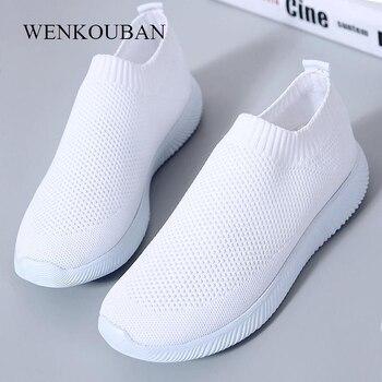 2019 kobiet trampki modne skarpetki buty na co dzień białe trampki letnie dzianiny buty wulkanizowane kobiety trenerzy Tenis Feminino 2019