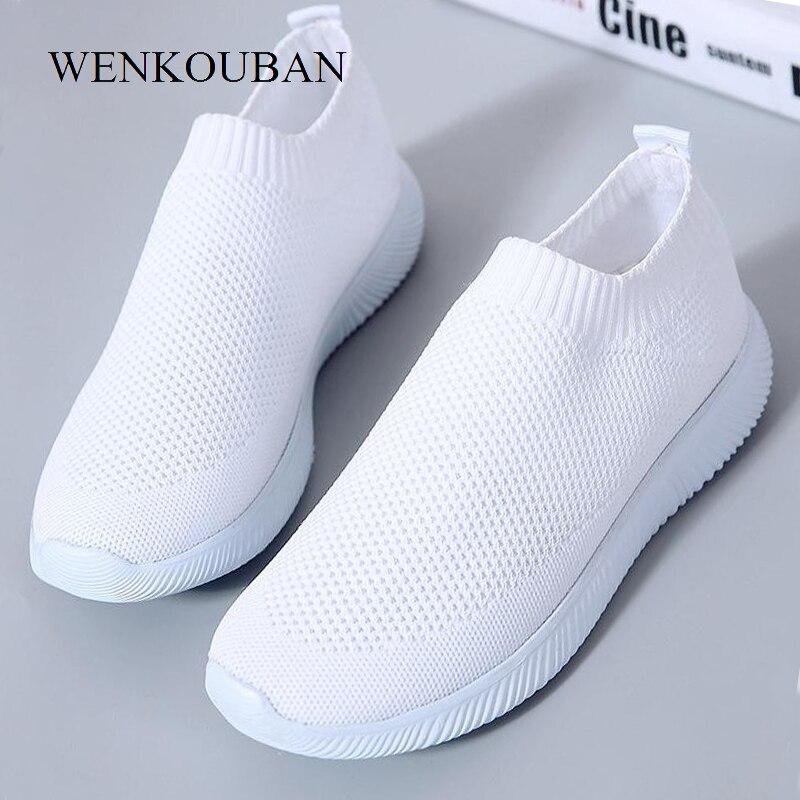 2019 mulheres tênis de moda meias sapatos casuais tênis brancos verão malha vulcanizada sapatos formadores tenis feminino 2019