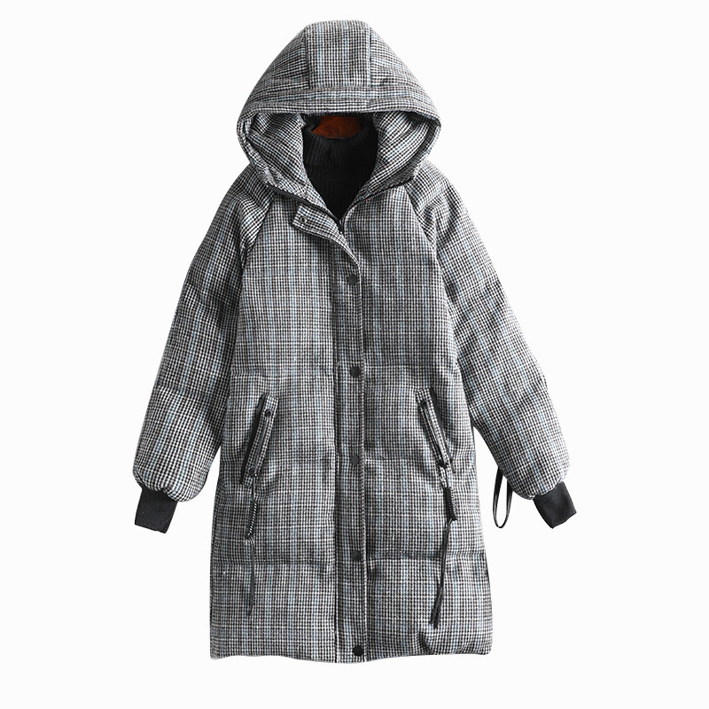 High Quality Space Cotton Plaid Coat Women Winter   Parka   Plus Size Thick Warm Fashion Outwear with Cap Xl-5xl 8565
