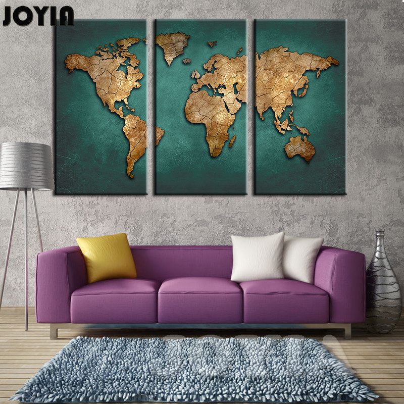 World Map Wall Painting Canvas Art Large Abstract Maps Forum Dark Green  Earth Plate Canvas Poster Print For Home Office No Frame