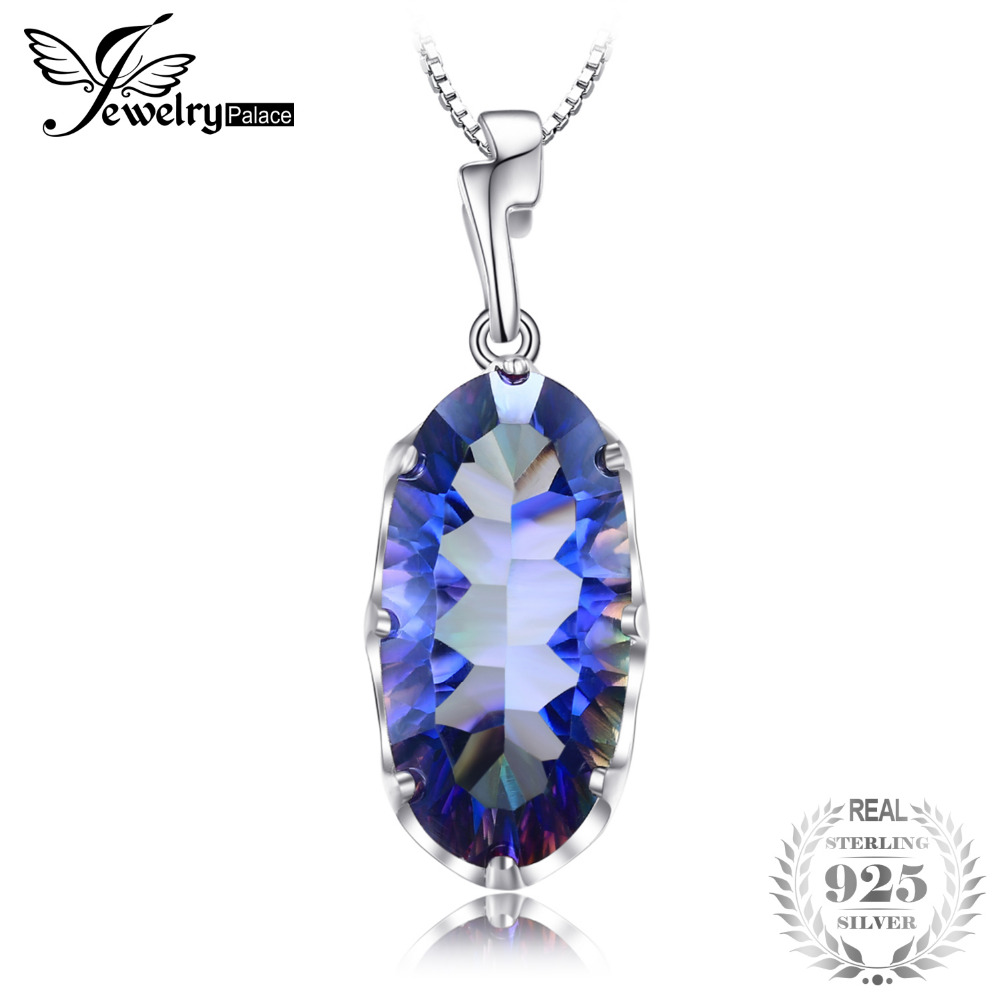 11.8ct Genuine Mystical Blue Rainbow Topaz Pendant Solid 925 Sterling Silver Fashion Brand Jewelry Without a Chain