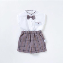 2019 summer boy baby clothes new stand collar bow shirt gentleman suit 0-4 years old thin + shorts