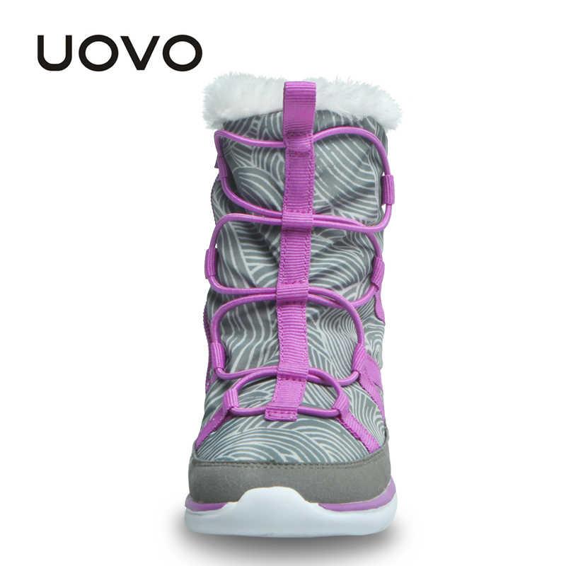 UOVO 2019 yeni çocuk çizmeleri moda kar botları çocuk spor ayakkabılar güzel erkek ve kız kısa çizmeler Eur boyutu #28- 37