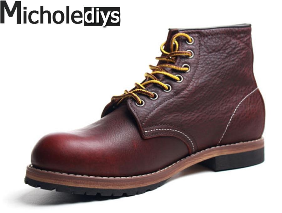Micholediys ручной работы Весна высокое качество мужчины кожаные сапоги Мартин сапоги мужские японские компании Goodyear рабочая обувь красные туфли крыла