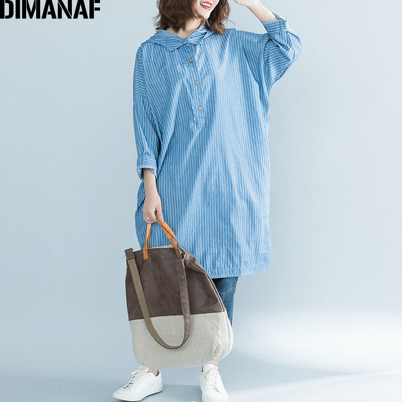 DIMANAF Women   Blouses     Shirts   Long Sleeve Female Clothes Plus Size Loose Cotton Ladies Vestidos Print Striped Hooded 2018 Autumn
