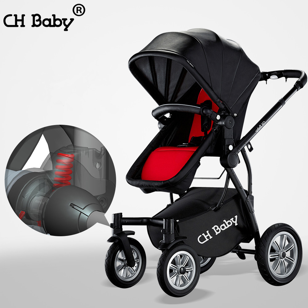 CH baby high lanscape stroller with foot cover, 2 in 1 baby pram with rubber wheel, PU leather canopy baby carriage with gifts