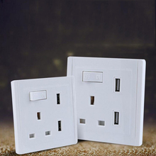 White USB Wall Power Outlet  AC 110-250V UK  Wall Socket 2 Port USB Outlet Power Charger for iphone Samsung HTC shierak universal standard 2 1a usb wall socket home wall charger 2 ports usb outlet power charger for phone white black gold