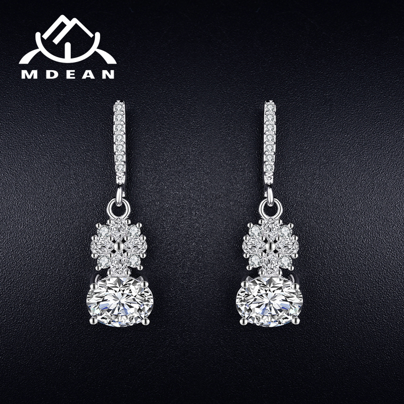 MDEAN White Gold Color Drop Earrings for Women AAA Zircon Pendientes Mujer Moda Engagement Jewelry Boucle Doreille A027