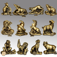 Feng Shui twelve zodiac bronze medallion rat ox tiger rabbit dragon snake horse sheep monkey chicken dog pig mascot