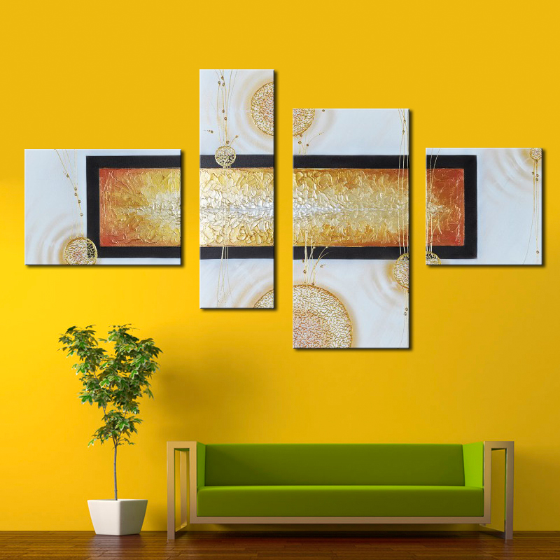 4 Panel Canvas Wall Art 100% Hand Painted Modern Abstract Oil ...