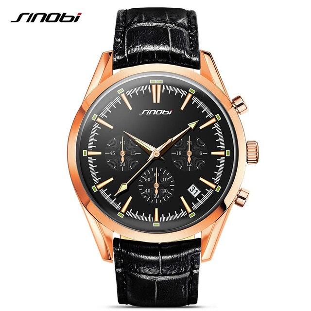 9c612b7d6cd Espião Militar Relógios de Pulso Dos Homens De Ouro pulseira de couro  Cronógrafo SINOBI Top Marca