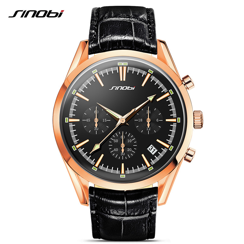 SINOBI Military Spy Men Golden Wrist Watches Chronograph leather watchband Top Luxury Brand Sports Male Geneva Quartz Clock 007 sinobi sports chronograph men s wrist watches digital and quartz boys military diving watchband top luxury brand male clock 2016