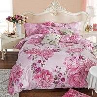 3d pink rose Flor 100% roupa de cama de Algodão Duplo Rainha Cheia King size 4 pcs conjuntos de Cama Quilt/capa de Edredon + lençol + fronha