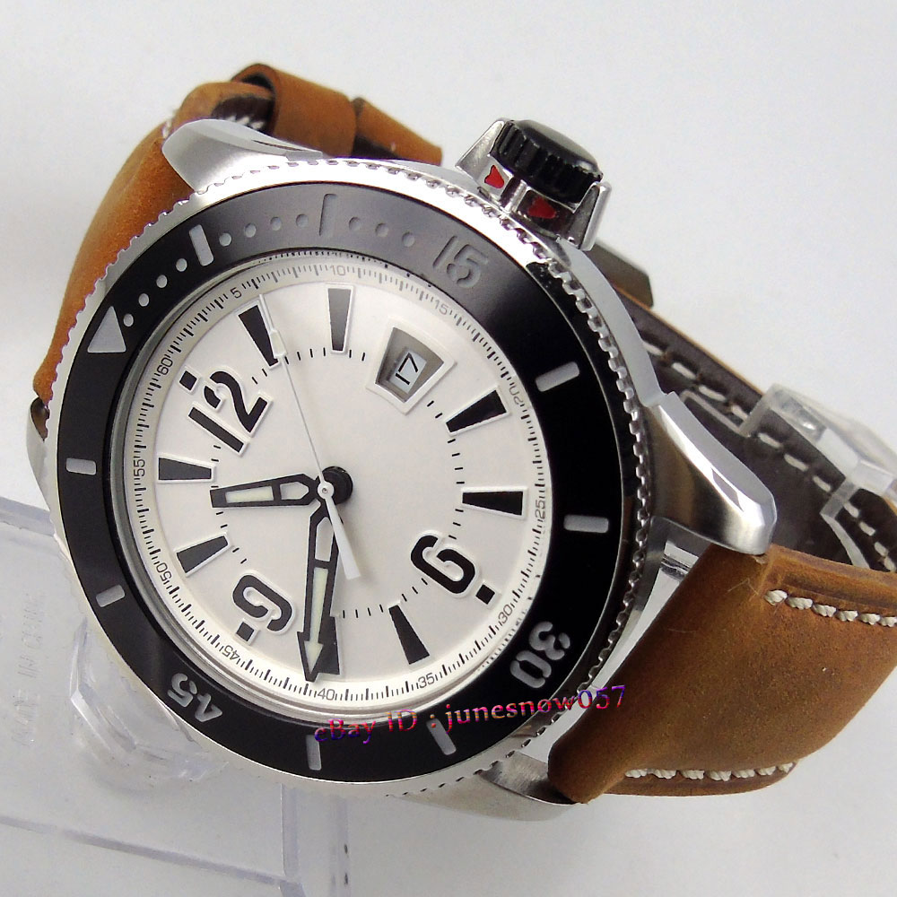BLIGER 43mm white dial date display luminous ceramic bezel leather strap 21 jewels MIYOTA Automatic men