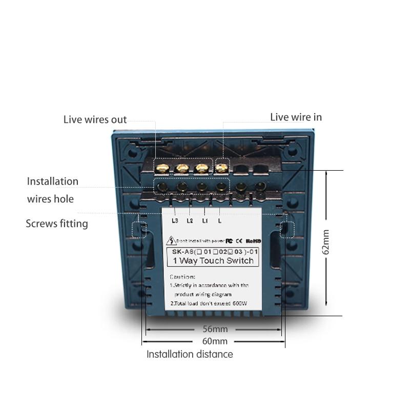 Touch schalter UK Standard 3 Gang 1 Way Lichtschalter Touchscreen ...