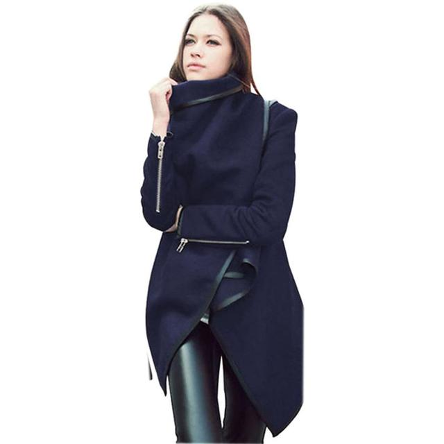 2016 Latest Fahion Women's Trench Coat Outerwears Lapel Pockets Lapel Long Sleeve Woolen Coat Parka Cardigans Mujer Nov25