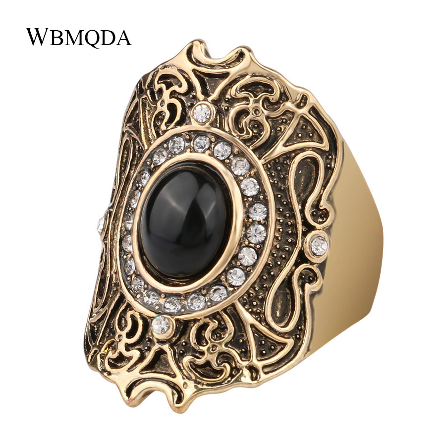 Turkey Jewelry Unique Ancient Gold Color Black Ring For Women Lucky Pattern Mosaic Crystal Gift Anillo Accessories