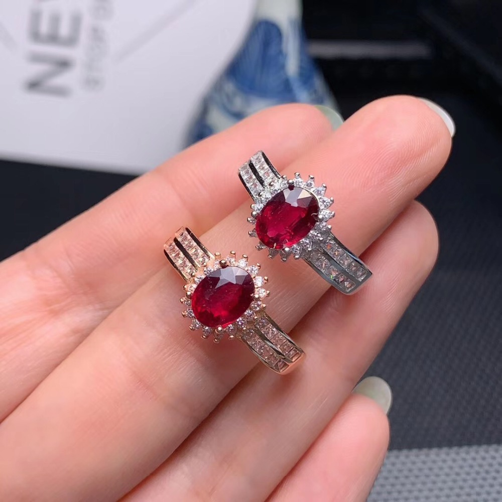 Natural Red Ruby Ring in Sterling Silver  Size 5 to 15 Wire Wrapped