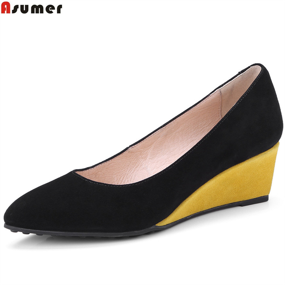 ASUMER black fashion spring autumn ladies pumps shoes pointed toe shallow pointed toe women suede leather high heels shoes siketu 2017 free shipping spring and autumn women shoes fashion sex high heels shoes red wedding shoes pumps g107