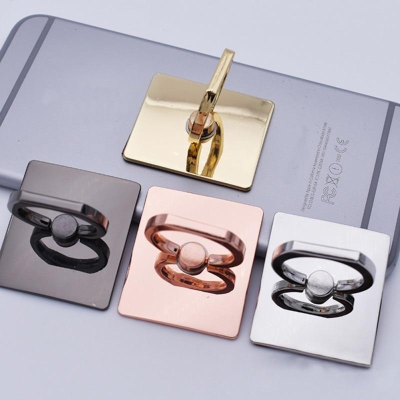 HOT Rose-Gold Color Plating Metal Square Finger Ring Bracket Mobile Phone Socket Holder Magnetic Car Bracket Stand Accessories