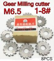 M6.5 Modulus PA20 graden NO.1-NO.8 8 stks/set HSS Versnelling frees Gear snijgereedschap Gratis verzending