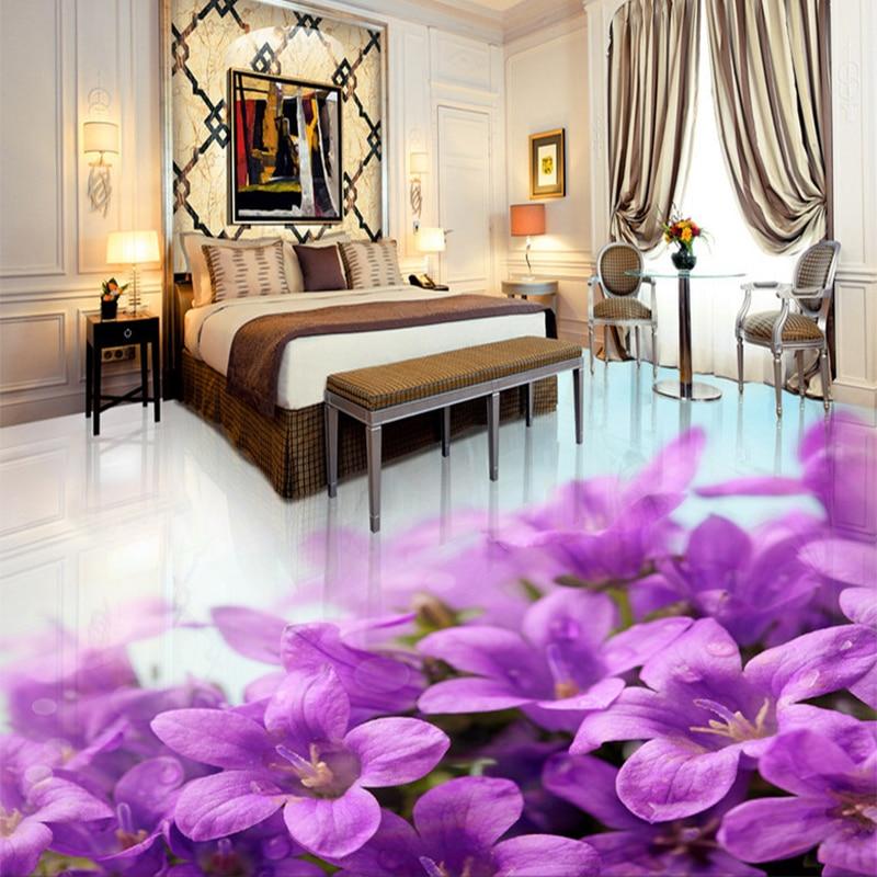 Custom 3D Floor Tiles PVC Self Adhesive Waterproof Wallpaper Sticker Purple  Flowers Mural Bedroom Living Room