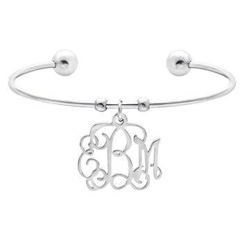Custom Name Monogram Letters Bangle Bracelets Stainless Steel Jewelry Logo Initials Charm Bracelet Best Friends Women