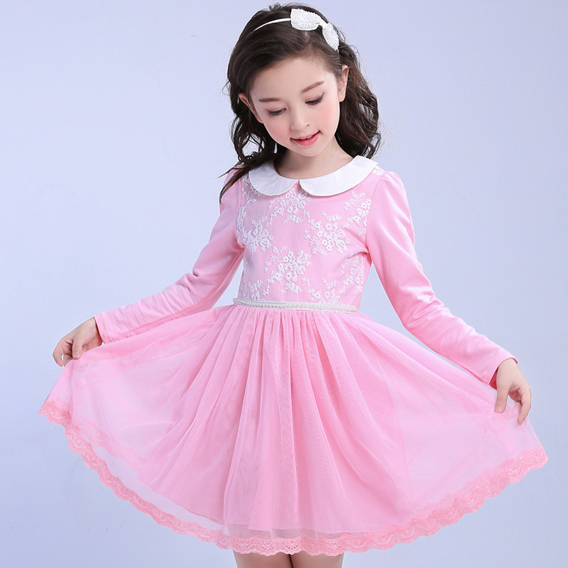 Spring Summer Kids Cotton Dresses Pink Blue Princess Dress -1732