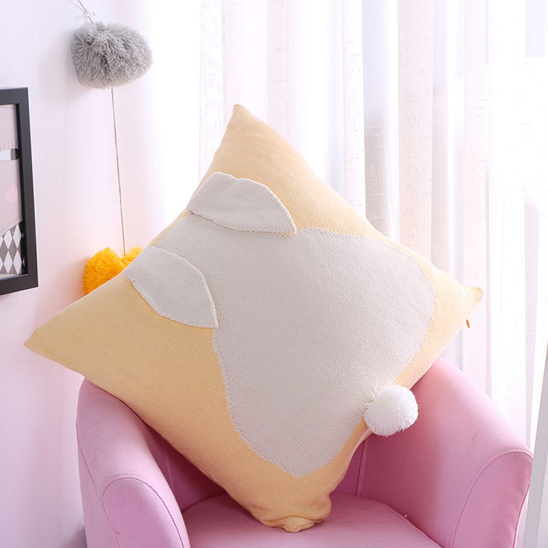 Pink Series Knitted Cushion 45*45cm Lovely Lucky Rabbit Pillow Cotton Decorative Cushion Home Sofa Car Office cushions