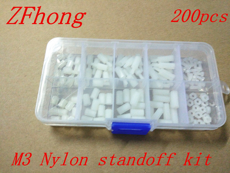 200PCS M3 White Nylon Hex Spacers Screw Nut Stand-off Plastic Parts Plastic Standoff Set White Kit Sample Box