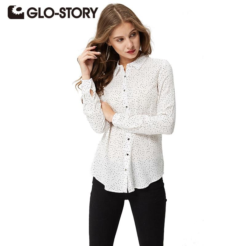 GLO-STORY महिला सफ़ेद प्लस आकार की लंबी बाजू की शर्ट 2018 आकस्मिक पोल्का डॉट ब्लाउज बारी कॉलर Femme सबसे ऊपर है WCS-3668
