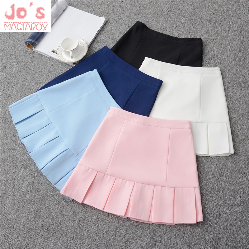 2019 High Waist Pleated Lolita A-line Office Women Skirts Girls Harajuku Denim Skirts Sailor Mini Japanese School Skirts Ruffles