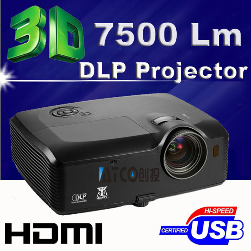 7500ansi lumen hdmi usb rj45 bright office full hd 1080p video outdoor data show rear dlp 3d projector daylight beamer proyector overhead office lighting