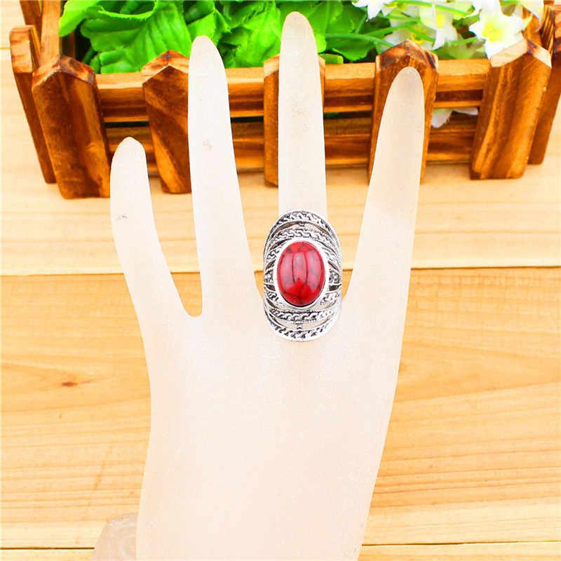 Victoria Hollow ดอกไม้รูปไข่แหวนผู้หญิงวินเทจโบราณเงินชุบแฟชั่นเครื่องประดับ TR224