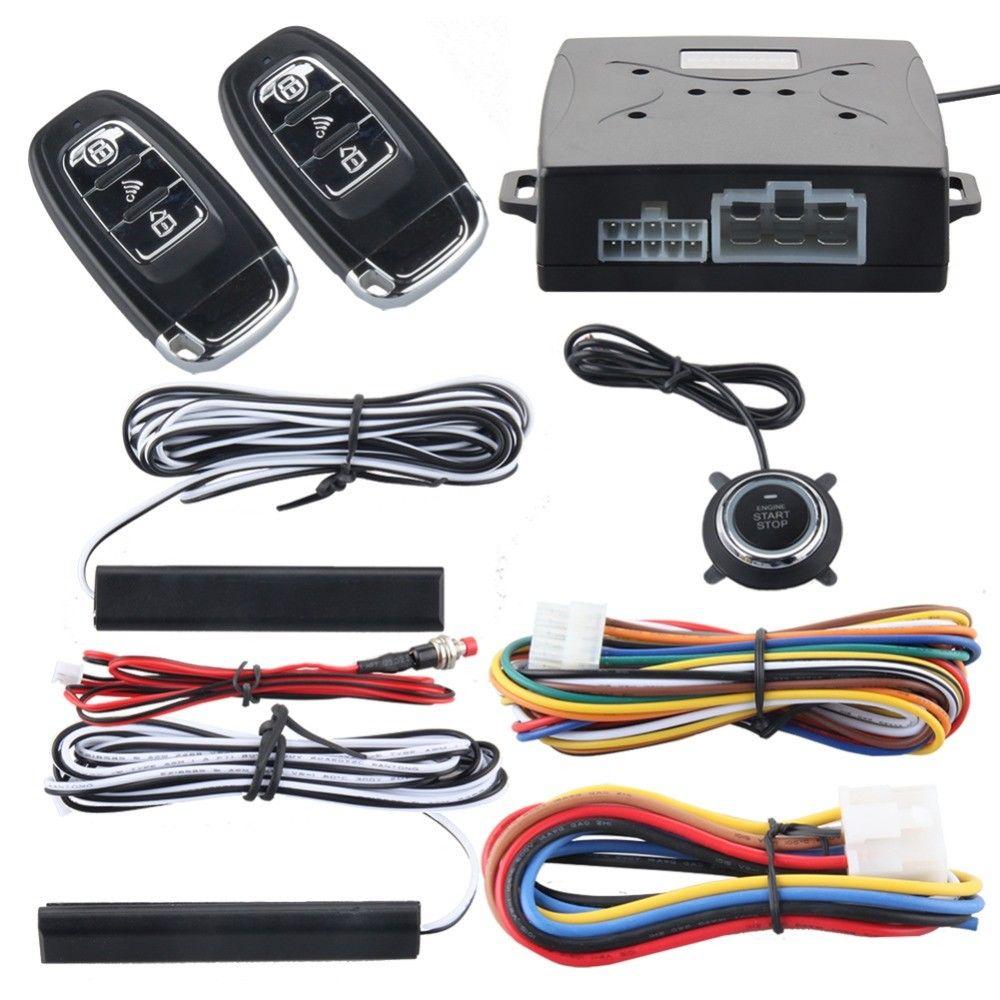 Auto voiture alarme moteur Starline bouton poussoir démarrage arrêt verrouillage interrupteur d'allumage sans clé système d'entrée avec télécommande Anti-vol