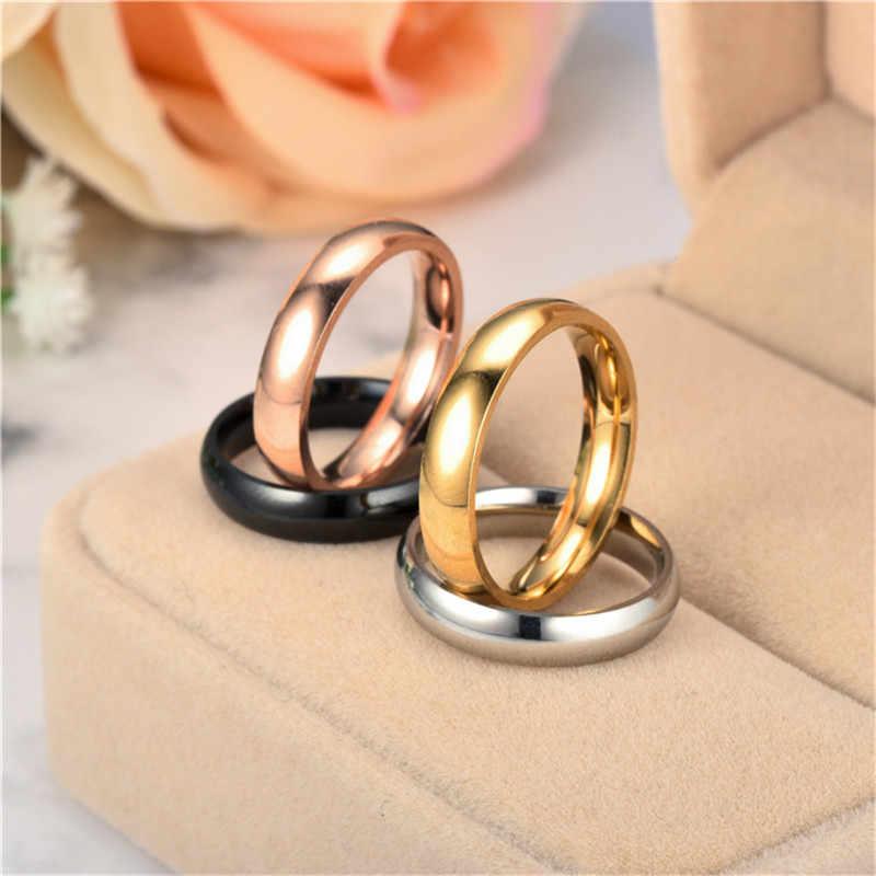 316L 4 milímetros Anéis de Casamento Por Atacado de Aço Inoxidável Moda Rosto Brilhante 4 Cor Amor Casal Anéis para As Mulheres Homens Clássico jóias