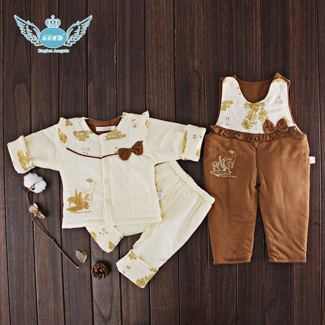 2016 Autumn Winter Newborn Baby girl Clothes Set 3PCS Cotton Baby Boy Clothes Winter Girl Baby Clothing Sets infant clothing
