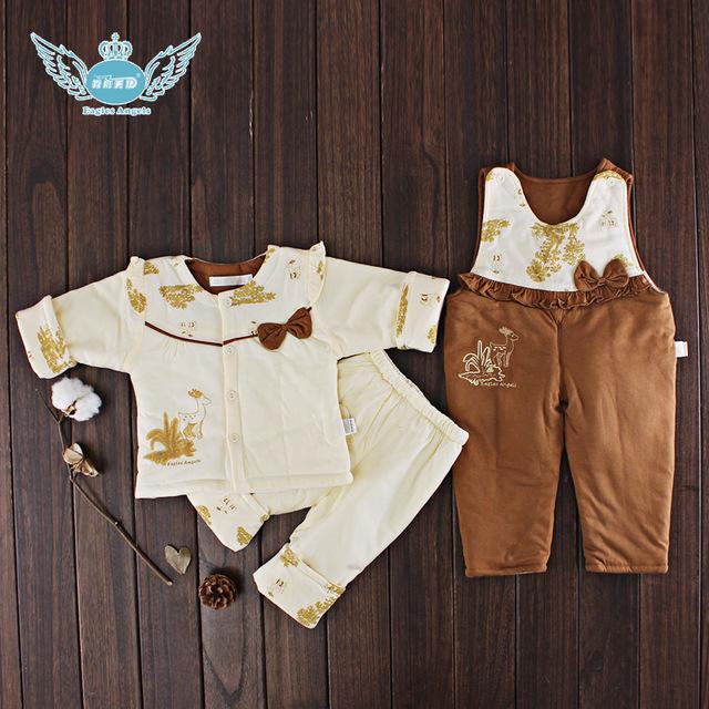 2016 Otoño Invierno Bebé Recién Nacido Ropa de la muchacha Fijaron 3 UNIDS Algodón Bebé Ropa de Invierno de La Muchacha Ropa de Bebé Establece bebé ropa