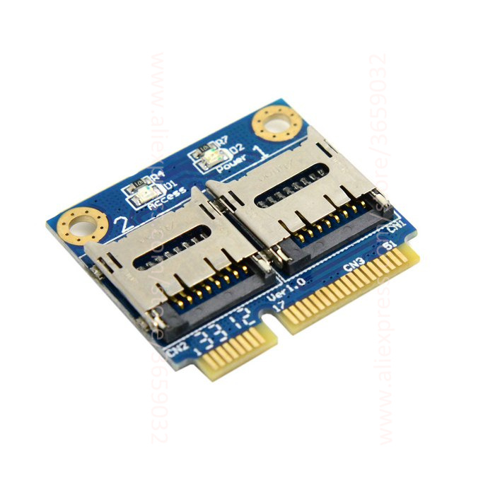 Dual TF Micro SD Card to Mini pcie pci express pci-express PCI E with half Bracket Memory Card Reader Adapter MINIPCI-E ssk scrm 060 multi in one usb 2 0 card reader for sd ms micro sd tf white