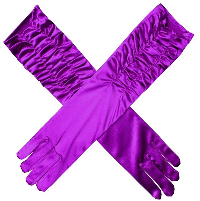 Red Black Pink Blue Purple Long Satin Elegant for Bride Bridal Wedding Gloves 2019 Women Finger gants mariage luvas de noiva 1