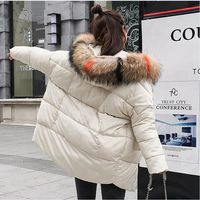 Brieuces winter coat women feather cotton clothing woman bread clothing jacket woman 2018 new large hair collar loose thick
